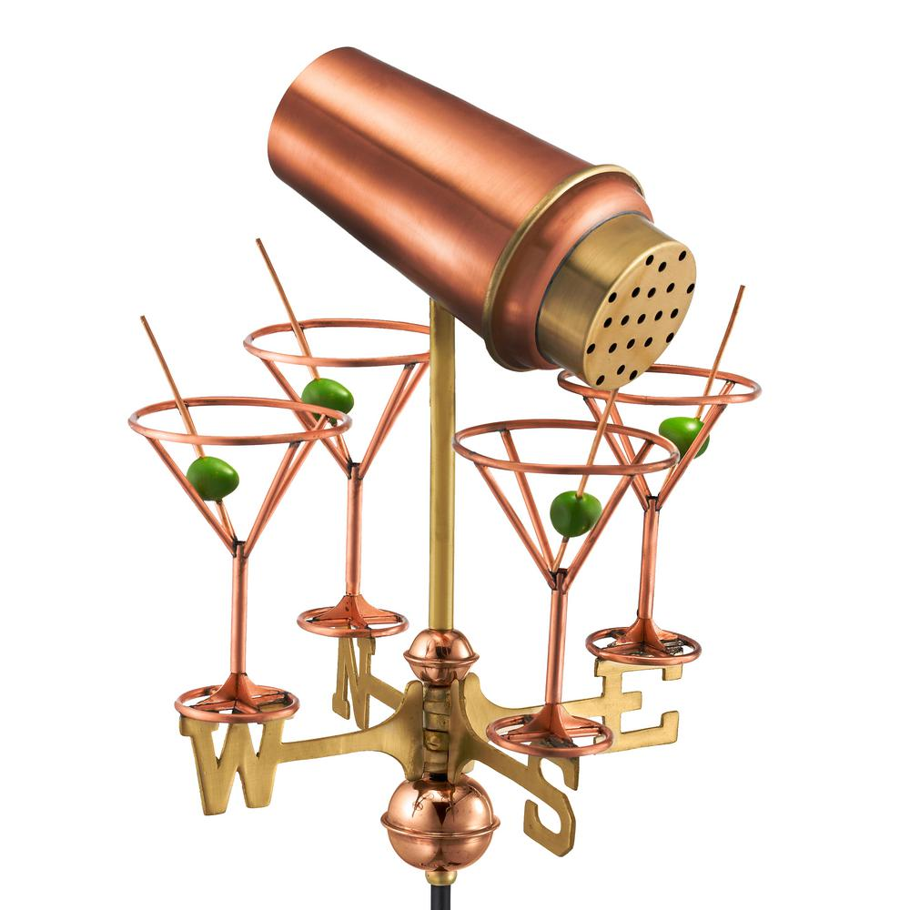 Martini with Glasses Garden Weathervane - Pure Copper with Garden Pole