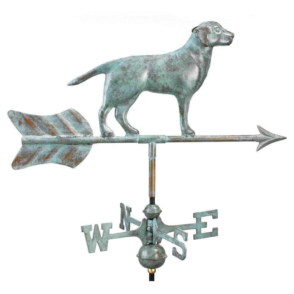 Labrador Retriever Cottage Weathervane - Blue Verde Copper with Roof Mount