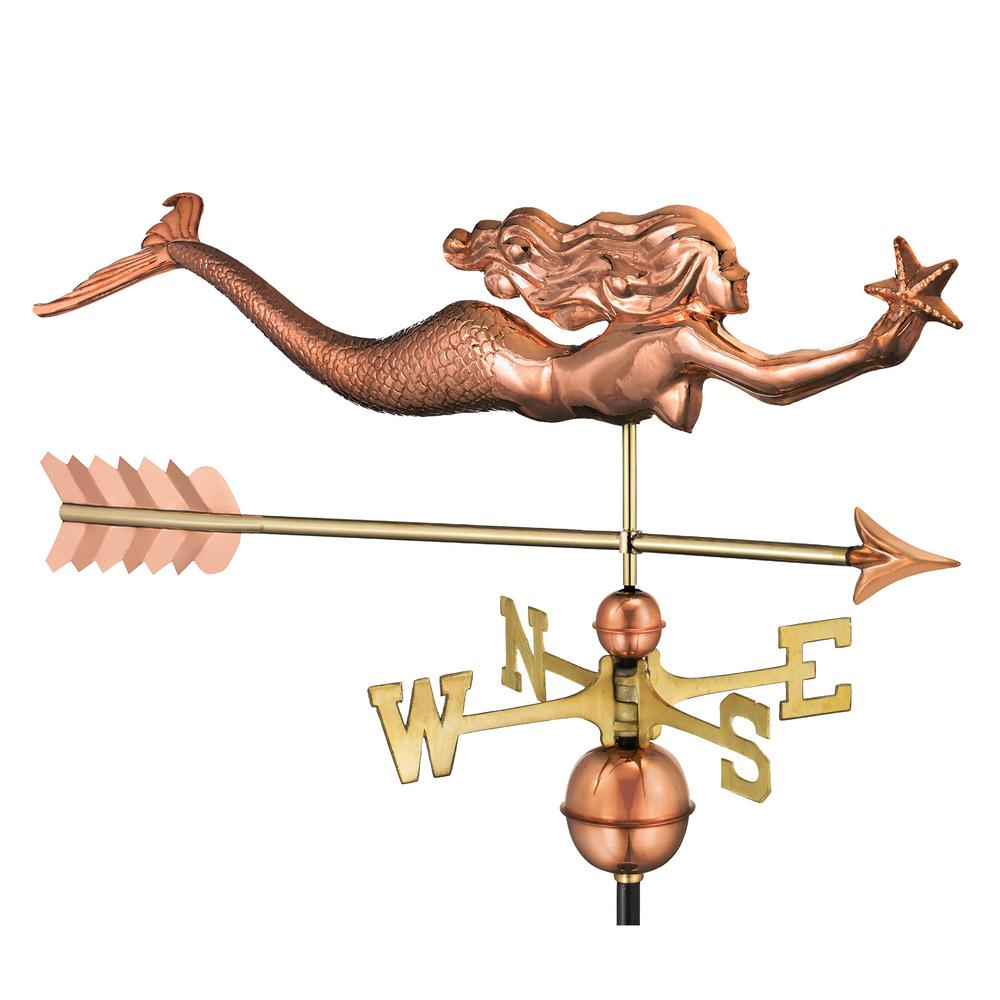 Mermaid with Starfish and Arrow Weathervane-Pure Copper